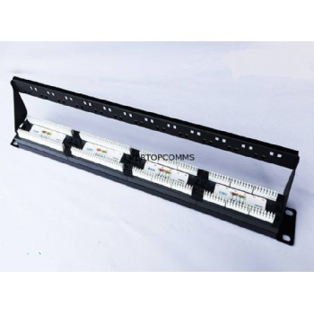 Cat6 24 Port Black Optical Patch Panel With Back Shelf Cold Rolled Steel Material